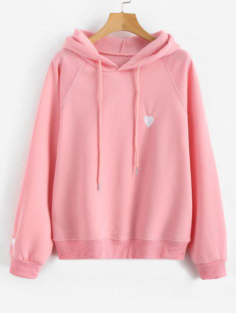 Stickerei Raglanärmel Fleece Hoodie - Rosa S Mobile