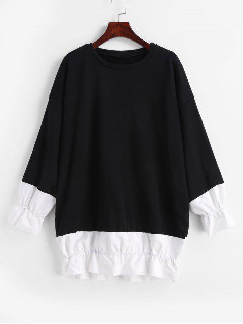 Volant Drop Schulter Tunika Sweatshirt - Schwarz Eine Größe Mobile