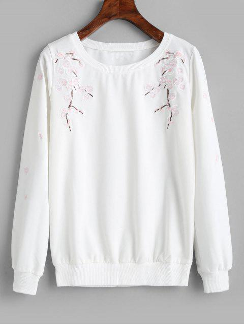 Sweat-shirt Fleur Brodée - Blanc M Mobile