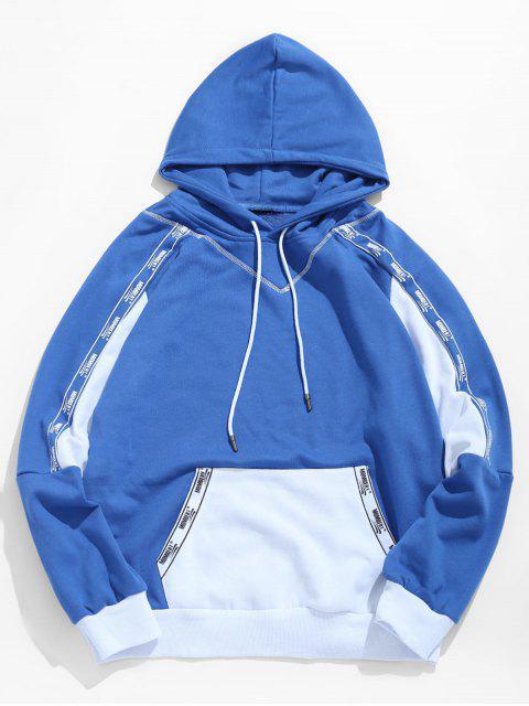 Sweat à Capuche Lettre avec Poche en Blocs de Couleurs - Bleu Dodger 2XL Mobile