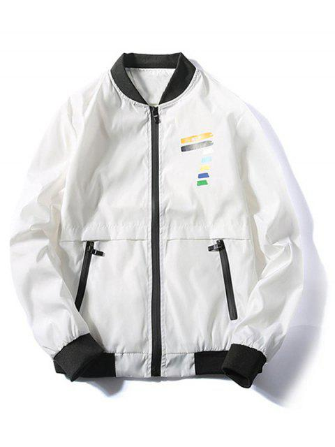 Veste Chiffre Coloré Imprimé Zippée - Blanc S Mobile