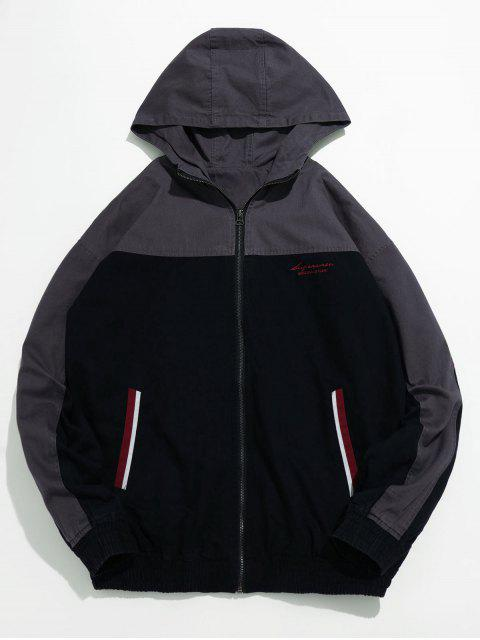 trendy Casual Contrast Hooded Jacket - BLACK M Mobile