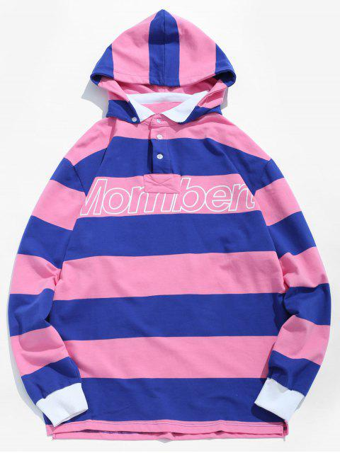 hot Stripe Letter Polo Shirt With Detachable Hood - PINK L Mobile