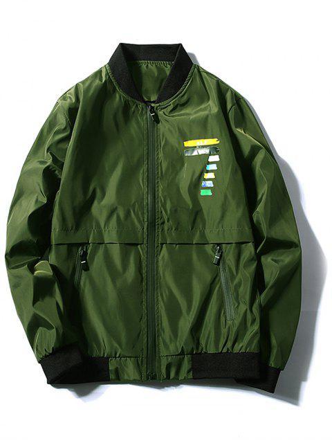 Veste Chiffre Coloré Imprimé Zippée - Vert profond XS Mobile