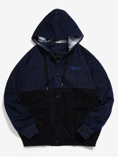 Veste à capuche en denim à patchwork - Bleu profond M Mobile