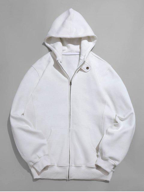 Veste Zippée en Couleur Unie en Laine avec Poche - Blanc M Mobile