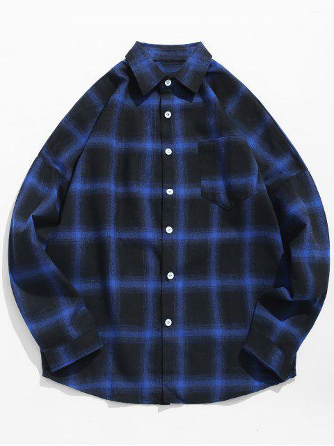 unique Drop Shoulder Sleeves Checked Casual Shirt - MIDNIGHT BLUE XS Mobile