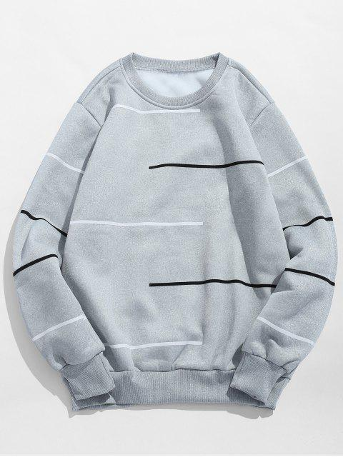 unique Long Sleeves Lines Print Pullover Sweatshirt - GRAY CLOUD M Mobile