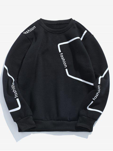 online Letters Geometric Print Pullover Sweatshirt - BLACK S Mobile