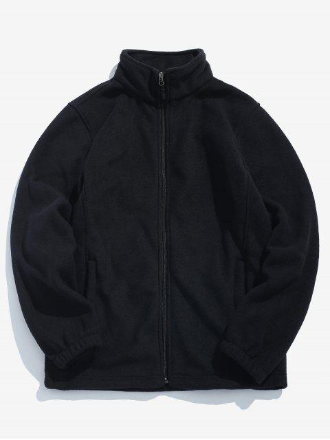 latest Zipper Solid Casual Coat - BLACK M Mobile