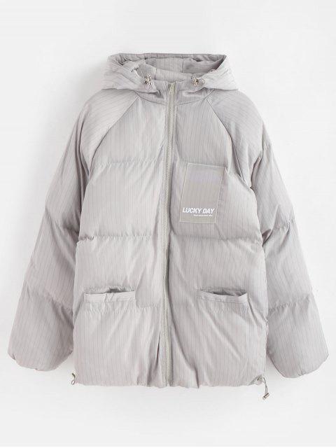Veste en laine à pois à rayures et patchwork - Gris Clair L Mobile