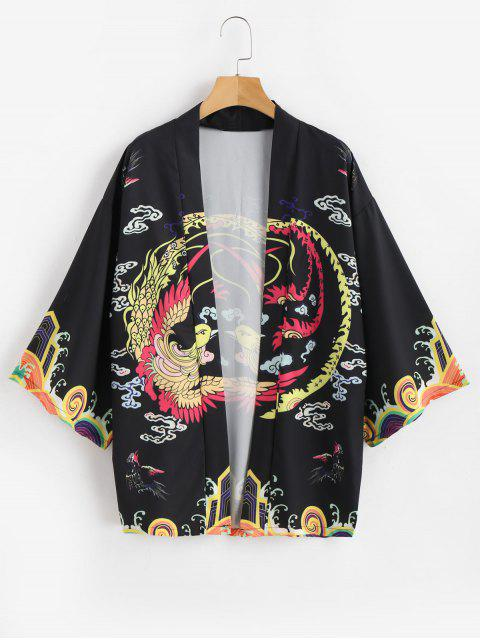 Cardigan Kimono Phénix Imprimé - Noir L Mobile