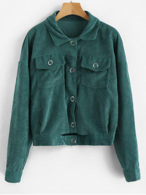 affordable Cut Out Single Breasted Corduroy Jacket - GREENISH BLUE M Mobile