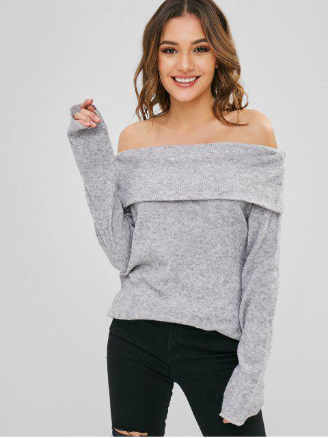 fashion Off Shoulder Overlay Knitwear - GRAY CLOUD M Mobile
