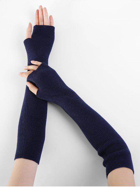 lady Solid Color Fingerless Arm Warmers - CADETBLUE  Mobile