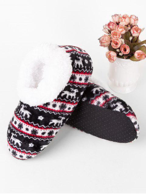 new Christmas Elk Print Indoor Floor Socks - BLACK  Mobile