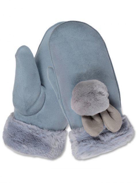 latest Outdoor Fuzzy Ball Mitten Gloves - LIGHT SLATE GRAY  Mobile