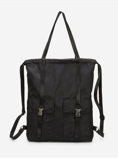 trendy Large Capacity String Design Student Backpack - BLACK  Mobile