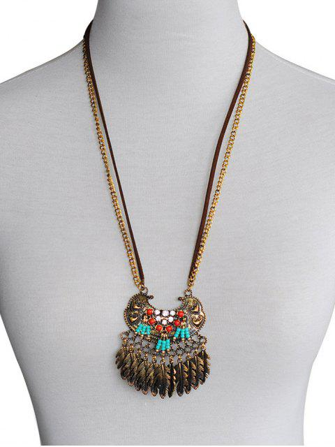 chic Feather Tassel Design Alloy Pendant Necklace - GOLD  Mobile