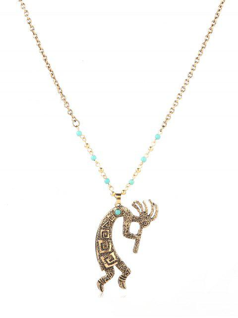 online Faux Turquoise Decoration Totem Necklace - GOLD  Mobile