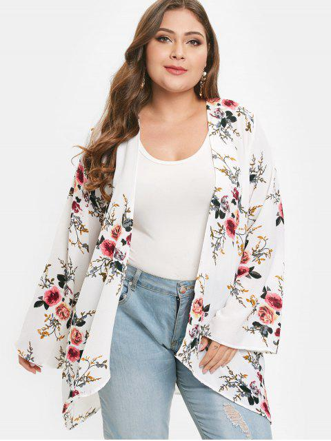 buy Flower Print Plus Size Tunic Cardigan - WHITE 1X Mobile