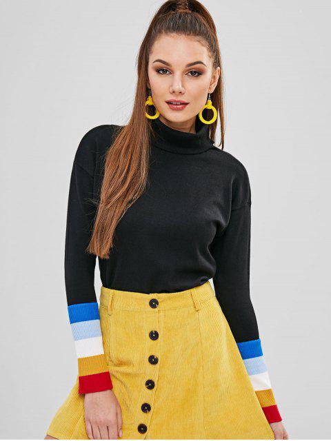 fancy Stripes Panel Turtleneck Sweater - BLACK ONE SIZE Mobile