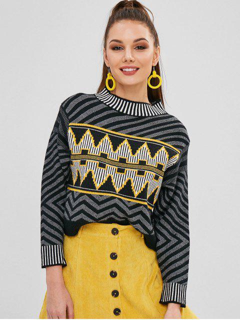 sale Zig Zag Pattern Round Collar Sweater - MULTI ONE SIZE Mobile