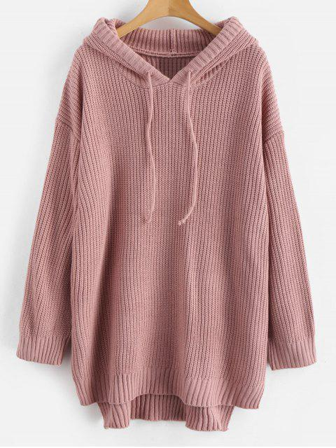 new High Low Hem Hooded Knitted Dress - PINK ONE SIZE Mobile