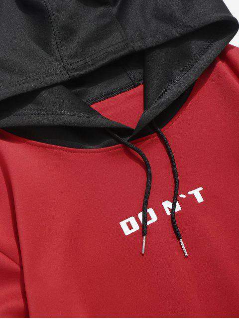 Kontrast Hoodie mit Buchstabendruck in der Tasche - Rot S Mobile