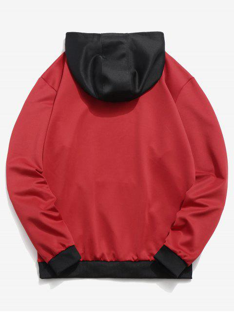 outfits Contrast Color Letter Pocket Hoodie - RED XS Mobile