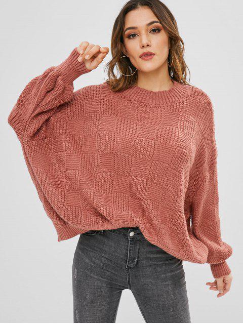 Laterne Ärmel locker sitzender Pullover - Bohne Rot Eine Größe Mobile