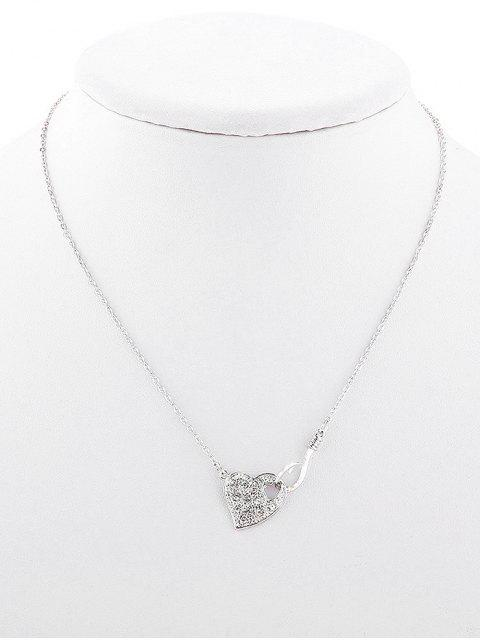 women Rhinestone Hollow Out Heart Design Necklace - SILVER  Mobile