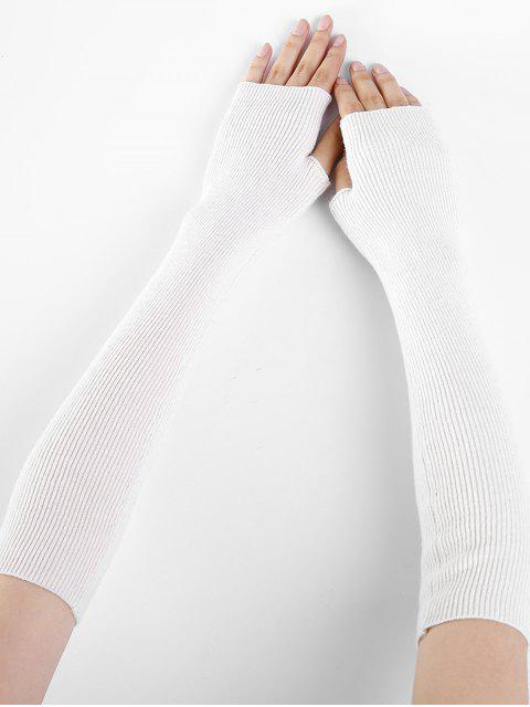best Solid Color Fingerless Arm Warmers - WHITE  Mobile