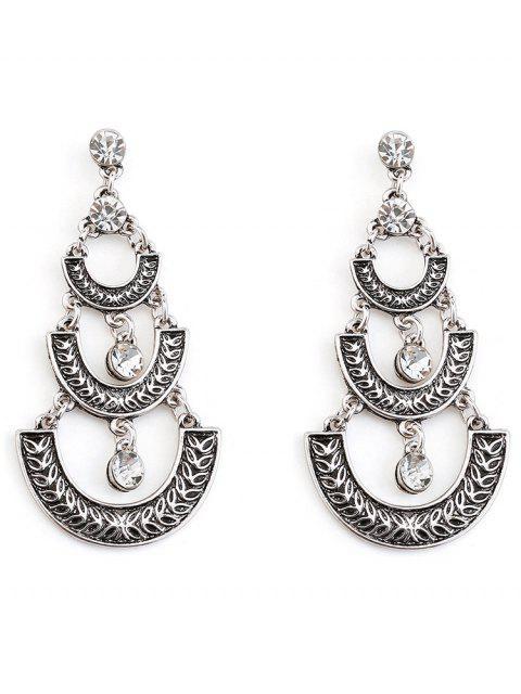 women Bohemian Geometric Tassel Dangle Earrings - SILVER  Mobile