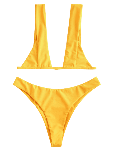 shops ZAFUL Plunging Bralette Bikini Set - BRIGHT YELLOW M Mobile