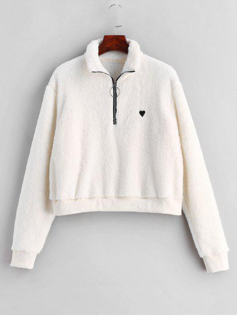 womens ZAFUL Half Zip Heart Embroidered Fluffy Teddy Sweatshirt - WHITE S Mobile