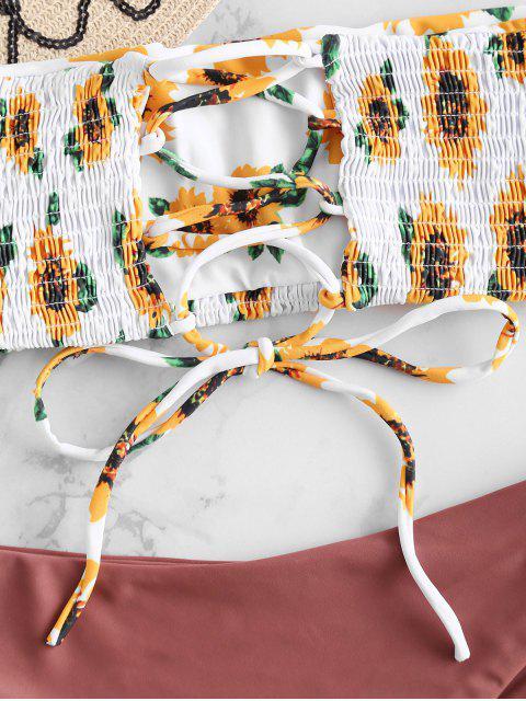 ZAFUL Ensemble de Bikini Tournesol Plissé à Lacets - Finch Rosé L Mobile
