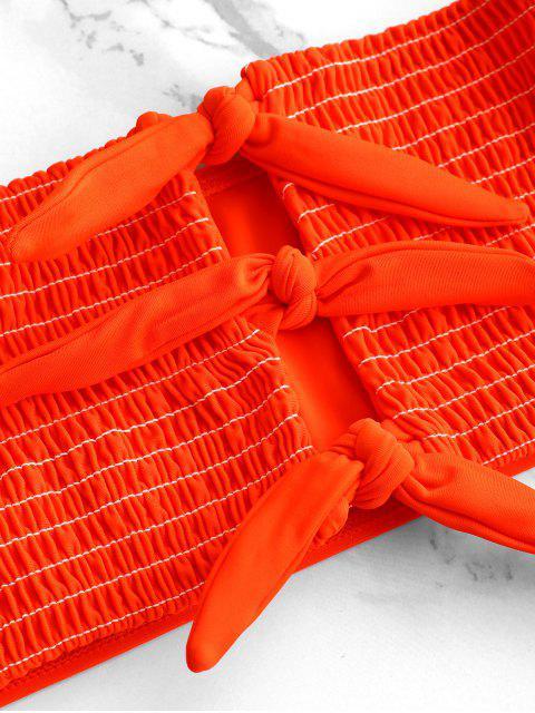 ZAFUL Ensemble de Bikini Plissé Noué avec Trou de Serrure - Orange L Mobile