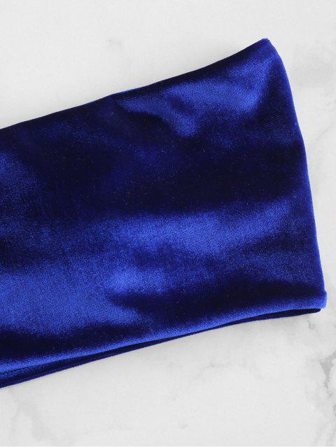 ZAFUL Velvet Bandeau Bikini Set - Azul cobalto L Mobile