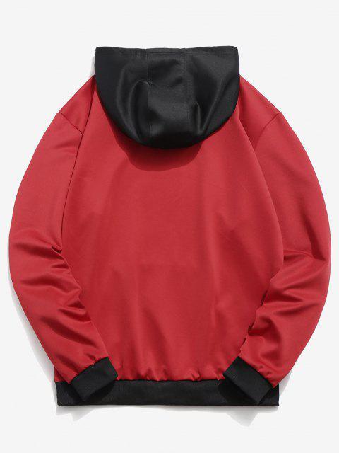 Kontrast Hoodie mit Buchstabendruck in der Tasche - Rot M Mobile