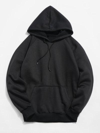 Basic Solid Pouch Pocket Fleece Hoodie - Black L