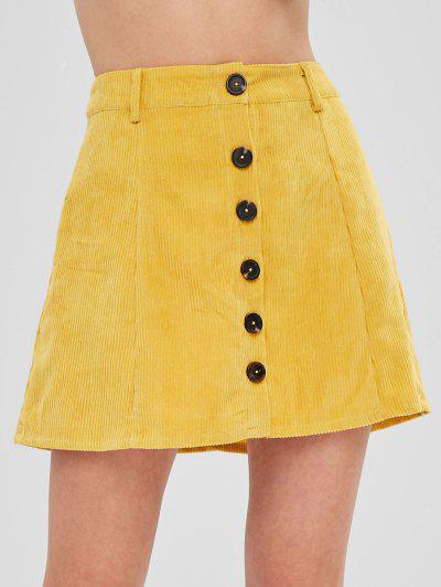 ZAFUL Button Up Mini Corduroy Skirt