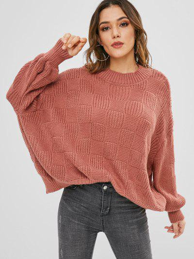 Lantern Sleeve Loose Fitting Sweater - Bean Red