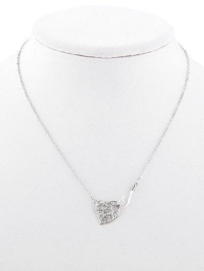 Strass- Aushöhlende Herz -Stil- Halskette - Silber