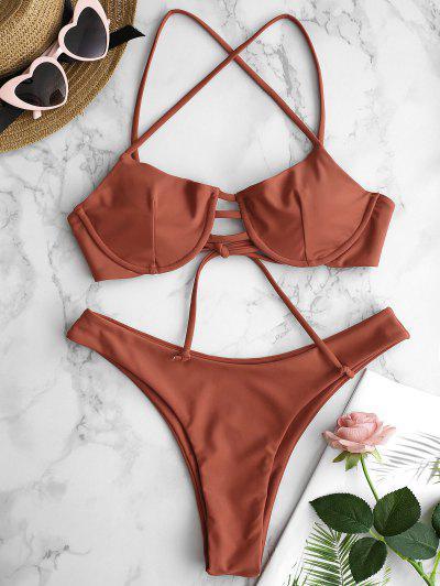 a50e47af6c ZAFUL Lattice Underwire Bikini Set - Light Brown S