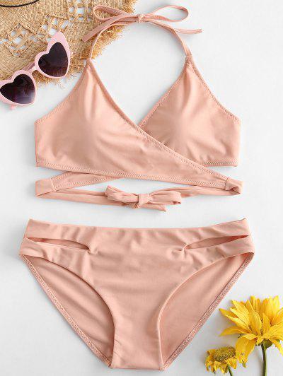 566565b58f ZAFUL Halter Cut Out Wrap Bikini Set - Deep Peach S ...