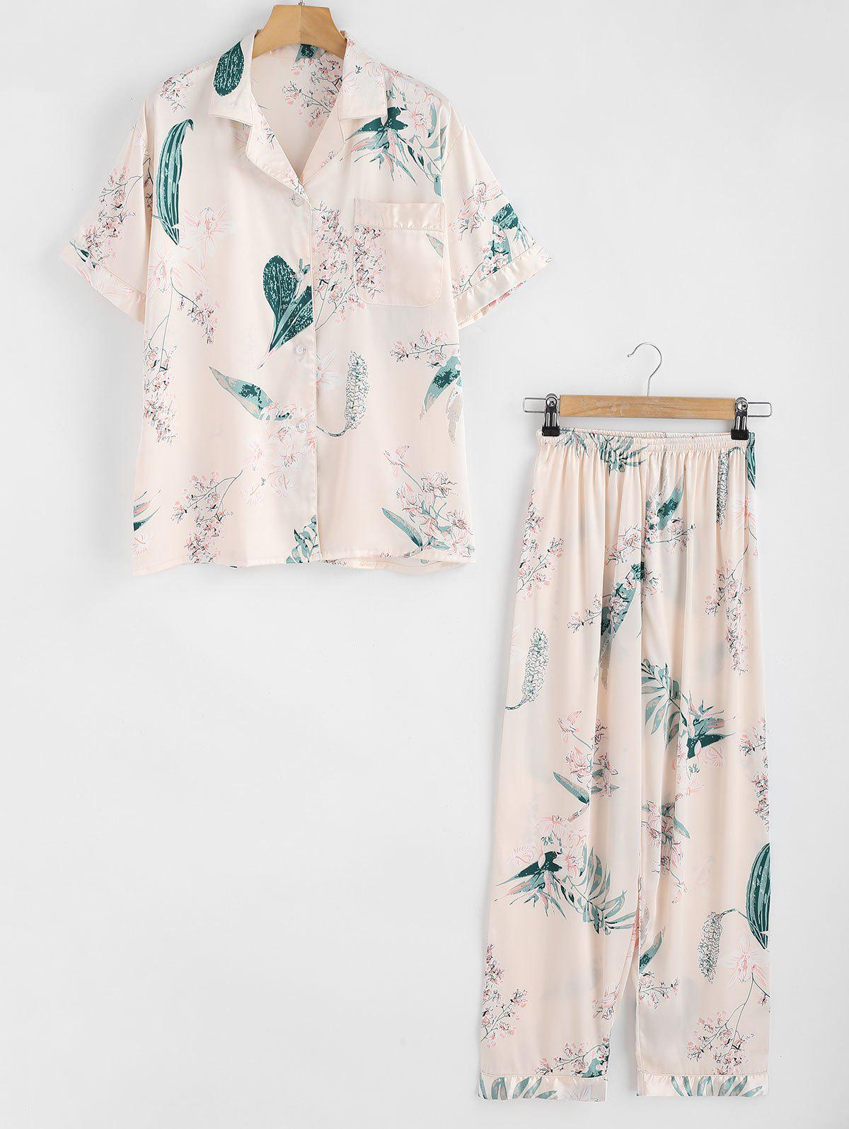 Satin Flower Shirt and Pants Pajama Set