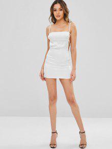 7caa2086c15e 26% OFF] [HOT] 2019 Backless Satin Slip Dress In WHITE | ZAFUL Australia