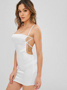 فستان بدون اكمام من الساتان - أبيض S