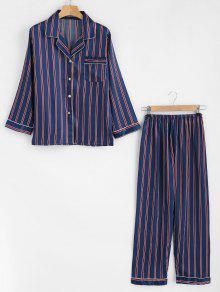 قميص حريري مخطط وسروال طقم بيجاما - طالبا الأزرق M